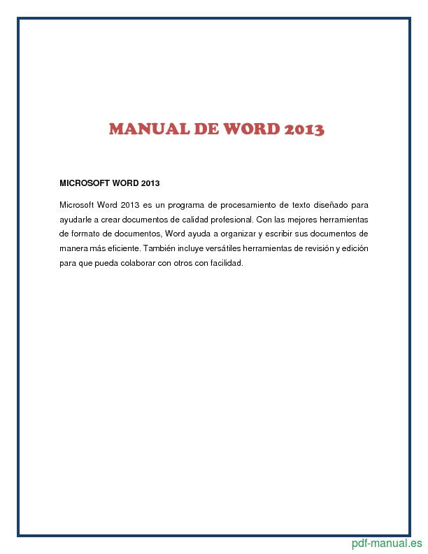 Pdf manual de word 2013 gratis curso for Manual de muebleria pdf gratis