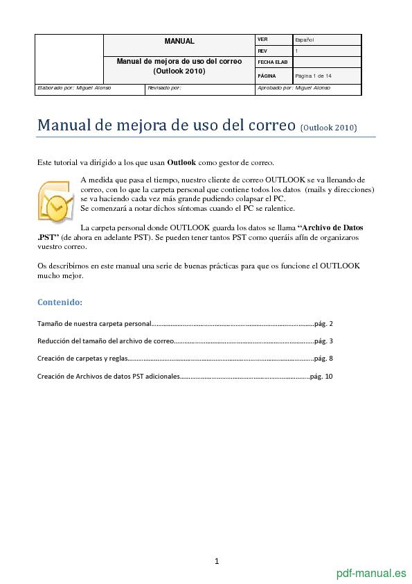 Curso Outlook 2010: Manual de mejora de uso del correo 1