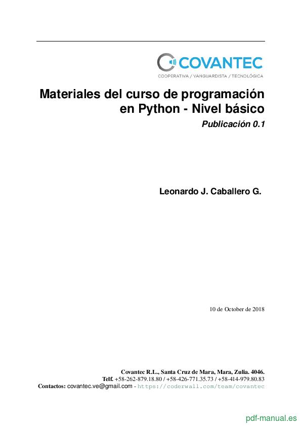 Curso Materiales del curso de programación en Python 1