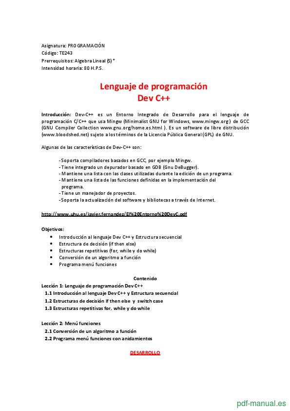 Curso Lenguaje de programación Dev C++ 1